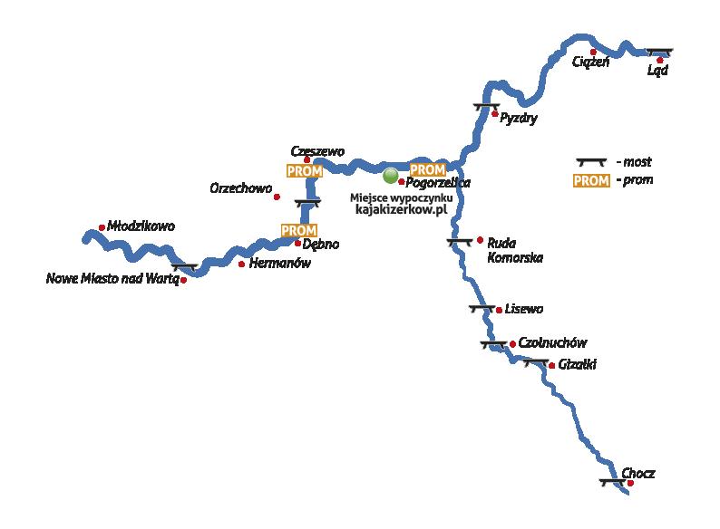 Trasy kajakowe-mapa